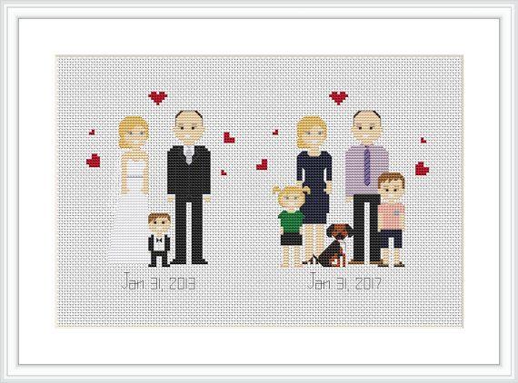 Anniversary gift Cross Stitch Pattern PDF Family cross stitch portrait 4th anniversary gift Linen anniversary Custom family portrait