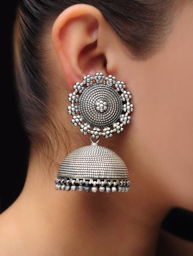 Floral Carved Jhumkas by SIlver Fest #available on jaypore.com #ethnic…