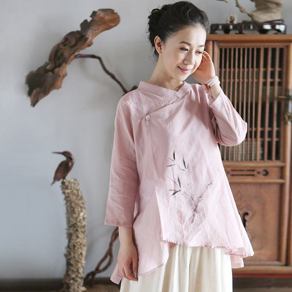 Silk Floss Hand Painted Chinese Collar Blouse Pink