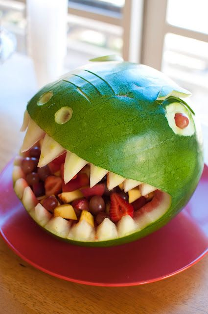 dino watermelon ... for a baby boys birthday!! Wish I would have seen this last year before Joel's Dino party