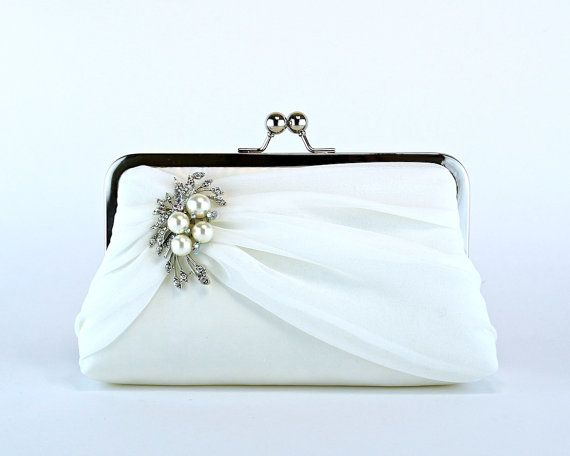 Bridal clutch Silk Chiffon Clutch with Brooch by EllenVintage, $84.00