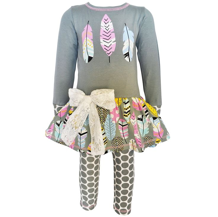 AnnLoren Big Girls 9/10 Boutique Feathers Tunic & Polka Dot Leggings Outfit. AnnLoren Fashionable Feather Tunic and Legging Set. Features grey cotton knit tunic with feather silk screen applique. Feather printed skirt attached with lace bow at hip. Cotton knit grey and cream polka dot leggings. 100% Cotton and Machine Washable. AnnLoren Big Girls 9/10 Boutique Feathers Tunic & Polka Dot Leggings Outfit.