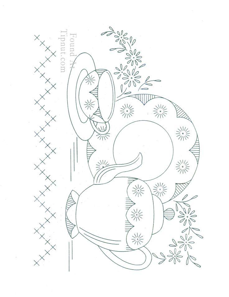 Vintage Tea Towel Embroidery Designs Free | Vintage Embroidery Designs: Dishware Set : TipNut.com