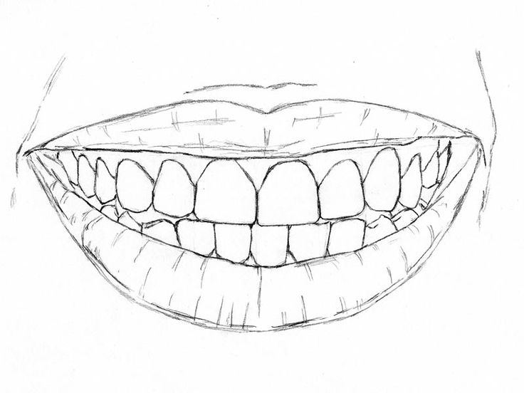 how to draw teeth smile