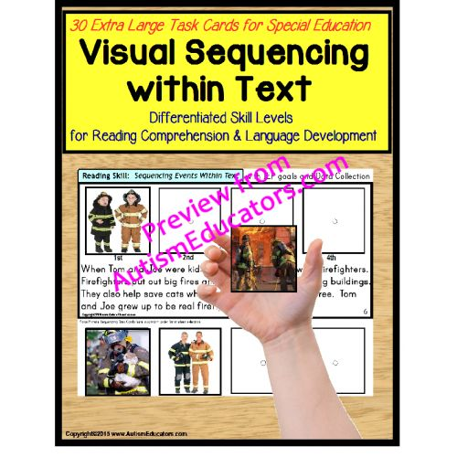 BRAND NEW JANUARY 2015 RELEASE! Autism - Sequencing Pictures within Text Task Cards for Autism and Special Education WITH DATA. My students and I have fallen in love with this activity! Complete with 40 Extra Large Sequencing Task Cards, reading comprehension becomes a breeze! - See more at: http://autismeducators.com/sequencing-events-with-text-and-pictures-task-cards-for-autismspecial-education#sthash.y966S1Gk.dpuf