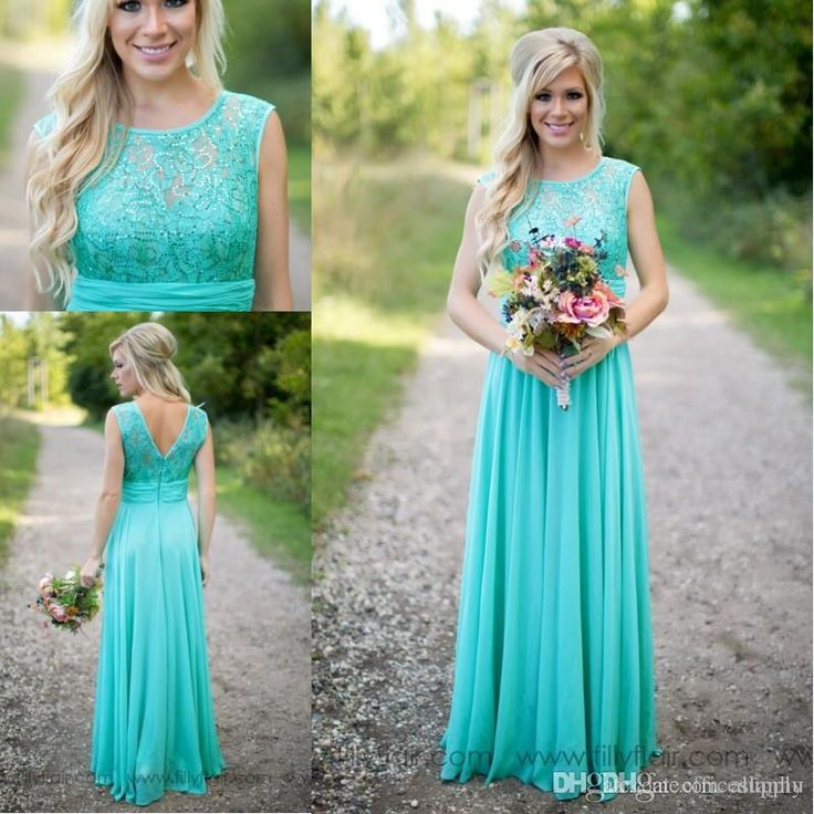 2016 New Arrival Turquoise Bridesmaid Dresses Scoop Neckline Chiffon Floor Length Lace V Backless Long Bridesmaid Dresses For Wedding Ba1513 Vintage Bridesmaid Dresses Uk Wedding Dresses Short From Allanhu, $117.28| Dhgate.Com
