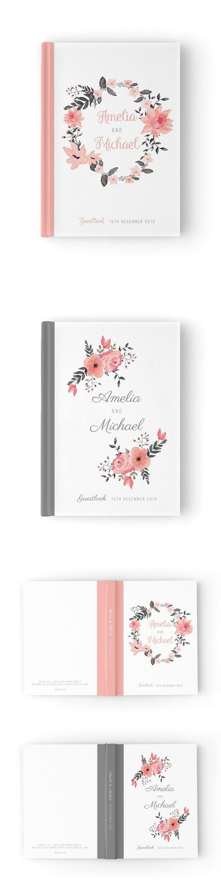 Pink & grey beautiful wedding guestbook by Paper Bound Love