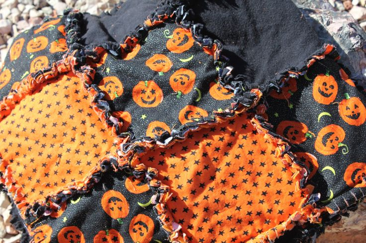 Halloween Jack O Lantern Rag Quilt by LegendsRags on Etsy https://www.etsy.com/listing/203993107/halloween-jack-o-lantern-rag-quilt