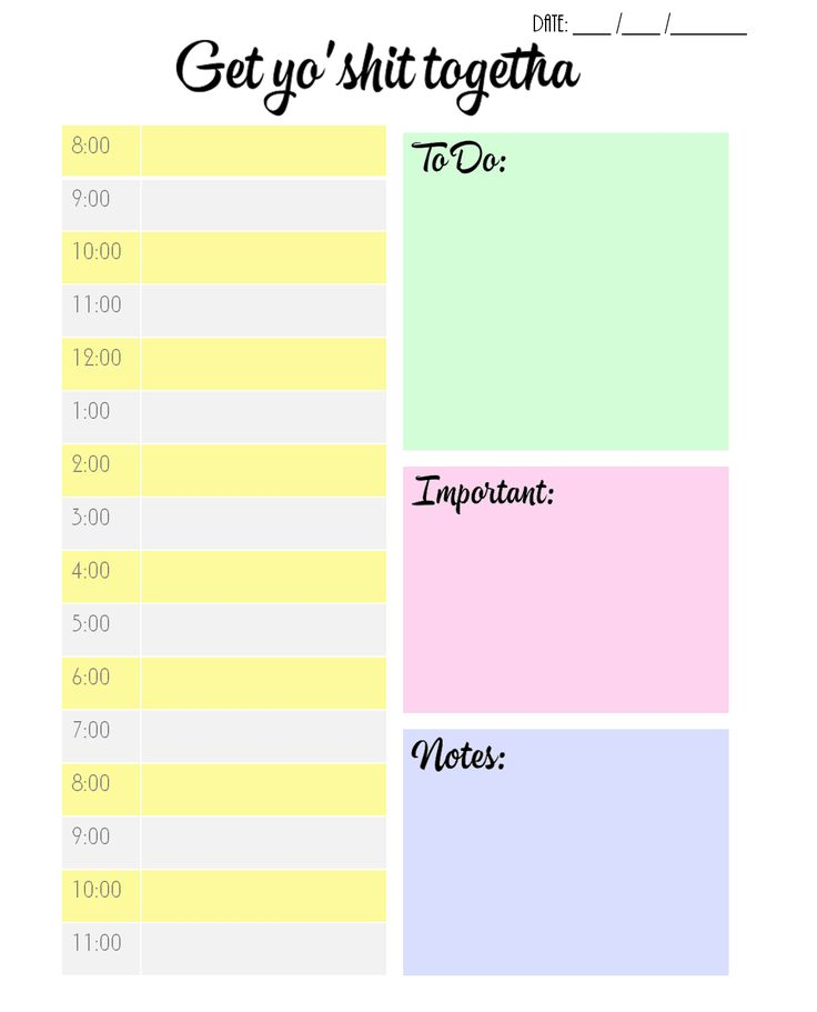 "studyforgreatness: "" FREE DAILY PLANNER PRINTABLE Hey guys! I made this daily planner this morning for myself, and thought some of you might be able to benefit from it? So here you go! Features: •..."