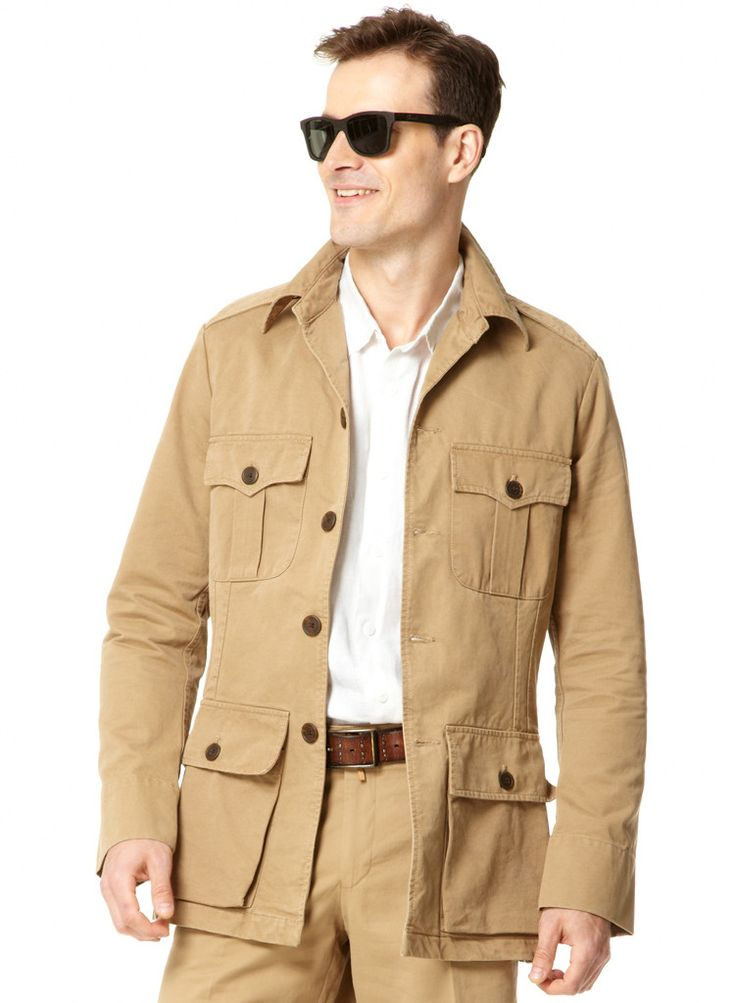 Mens Cotton Safari Jacket - Khaki