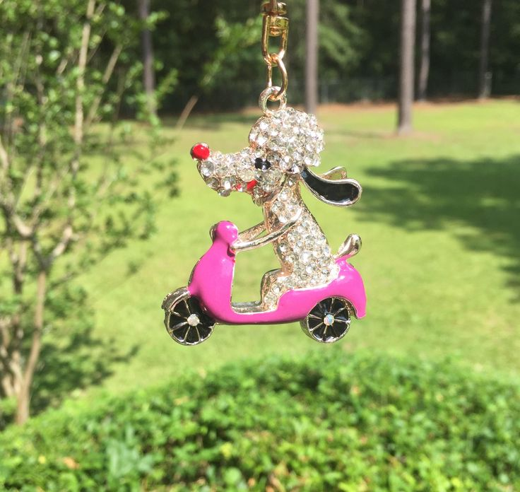 A personal favorite from my Etsy shop https://www.etsy.com/listing/546566601/rhinestone-crystal-dog-on-a-pink-moped