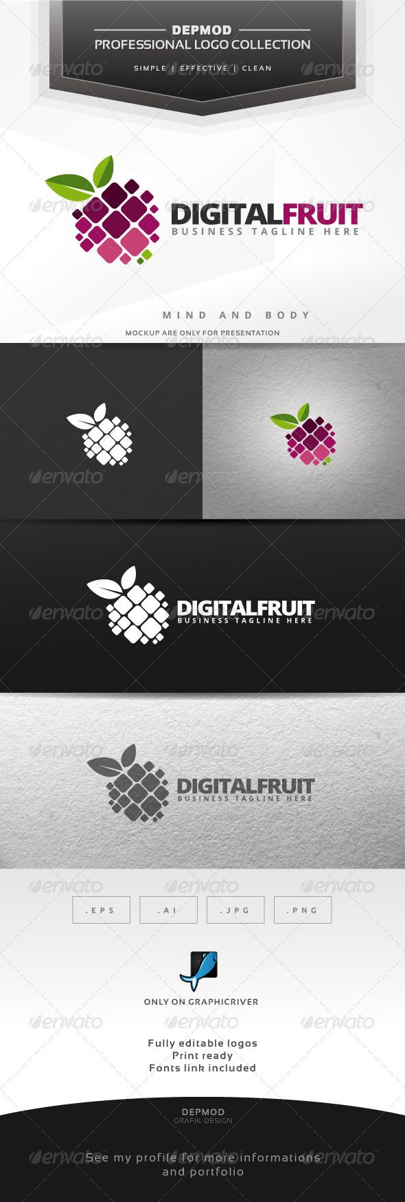 Digital Fruit - Logo Design Template Vector #logotype Download it here: http://graphicriver.net/item/digital-fruit-logo/6424359?s_rank=412?ref=nesto