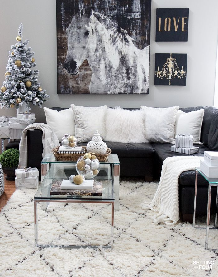 holiday black white gold decorating ideas winter in 2019 family