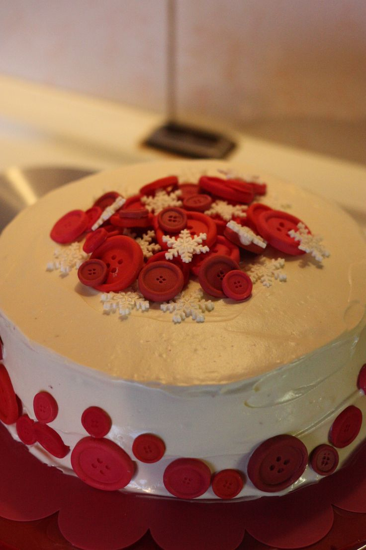 Redvelvet cake with buttons and snowflakes