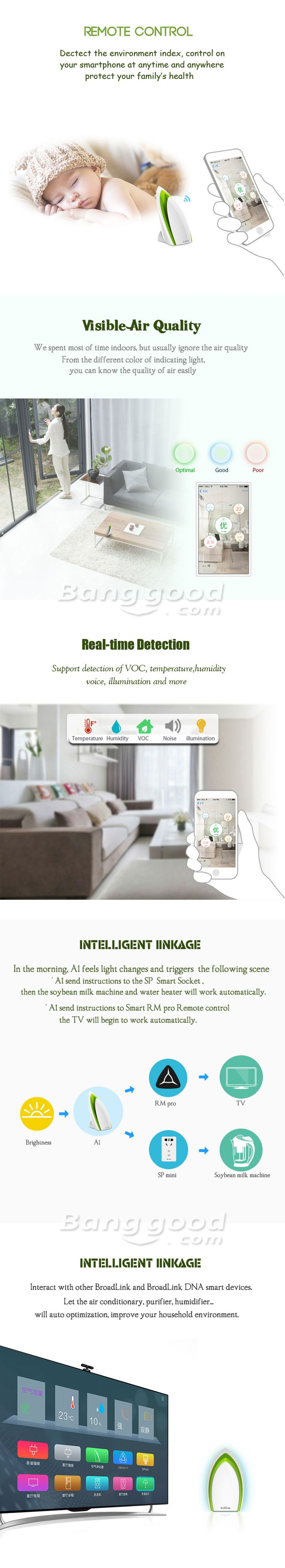 BroadLink A1 White WiFi Intelligent Smart Home Air Detector Sensor Purifier Remote Control at Banggood