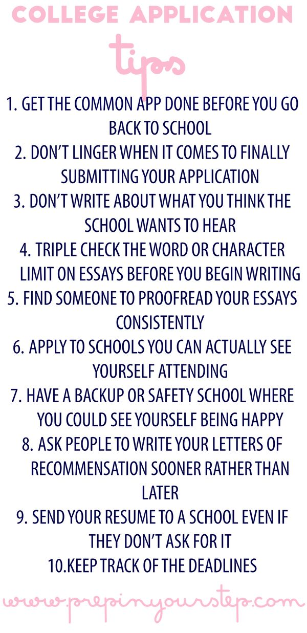 Prep In Your Step College Application Tips College
