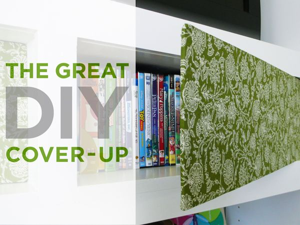 Genius way to disguise ugly shelves OR add splash of color to back of shelving/cabinets, quick, affordable and easy!! What more could you ask for??