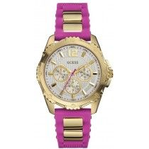 GUESS Multifunction Gold Pink Rubber Strap W0325L3