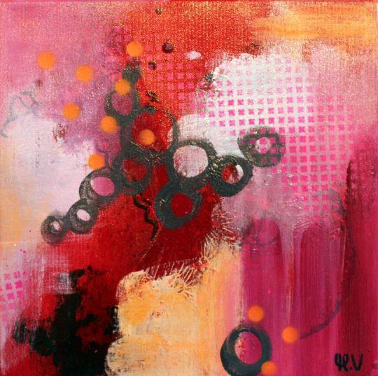 Lille rødt maleri Kunstner Mette Vester