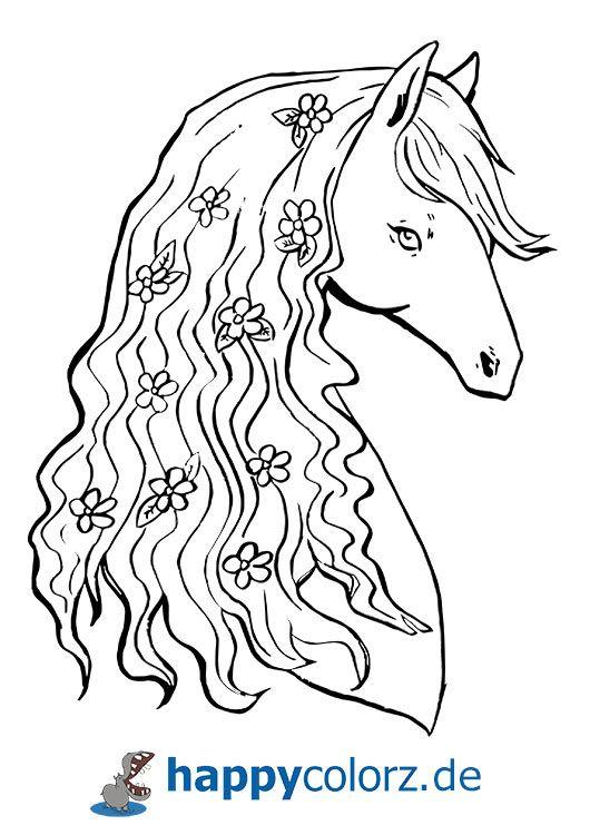 Ausmalbild Pferdekopf mit Blümchen   Ausmalbilder pferde ...