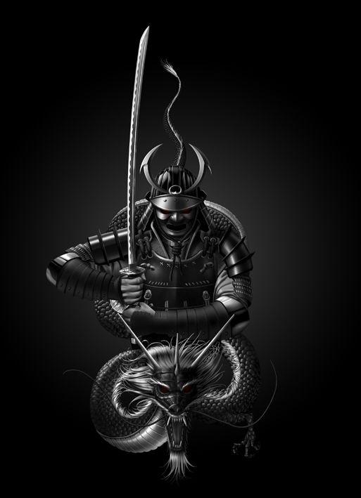 Dibujo de Samurai realizado por encargo para un tatuaje. Tenía que estar basado en este: Samurai tattoo