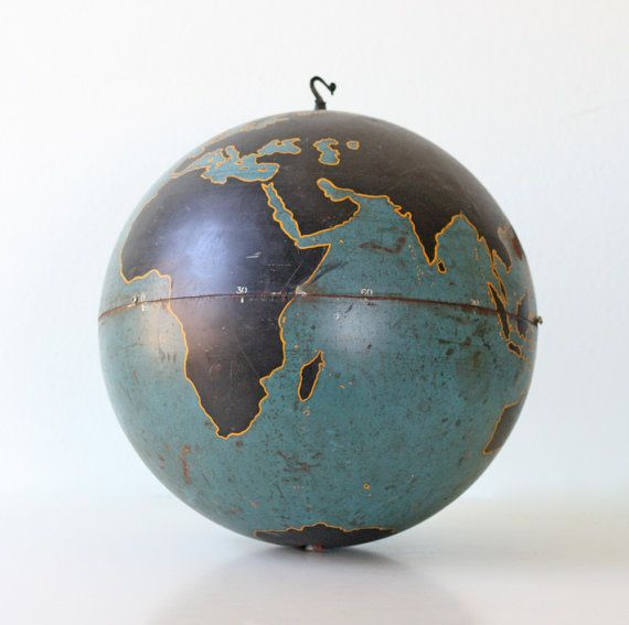 Perfect for my travel room!!   Vintage Military Globe Instructional 20 diameter by bellalulu, $400.00