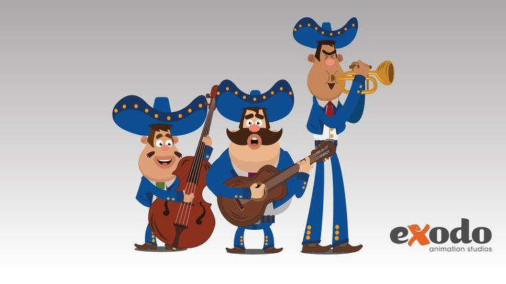 Characters for a 2D animation spot we recently aired for a Nissan car dealership that celebrates Independence Day in Mexico (yes, it includes a Mariachi).