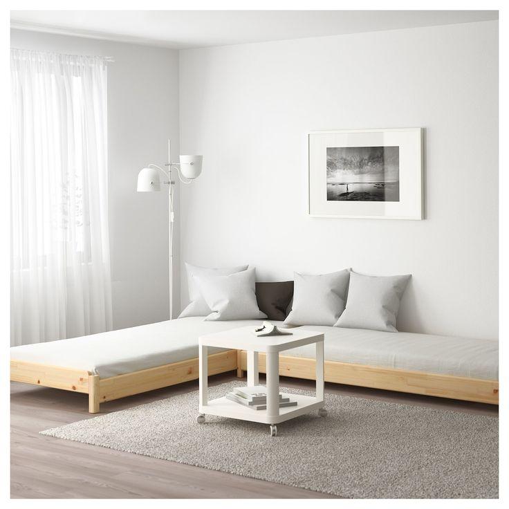 UTÅKER Stackable bed with 2 mattresses - pine, Husvika - IKEA