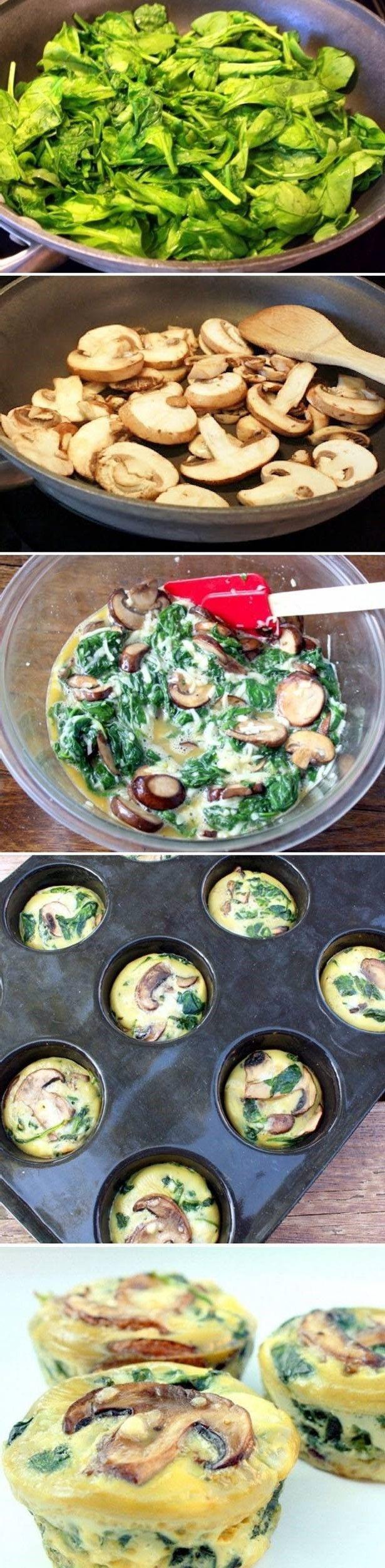 MUFFINS DE ESPINACAS: Simplemente precocinar las setas o champiñones y luego combinar con espinacas y huevos revueltos. Se puede añadir algo de queso para fundirlo al final. Todo al horno, unos 25 minutos.