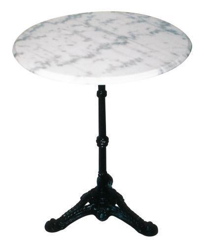 Bistrotisch Marmor Marmortisch Gartentisch weiß, gusseisener Fuss Ø60cm