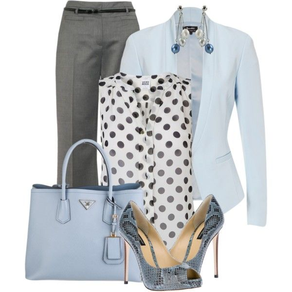 """""""Work Style"""" by coromitas on Polyvore  Maybe not such a pale shade of blue. Perhaps something more of a jewel tone or a saturated hue."""