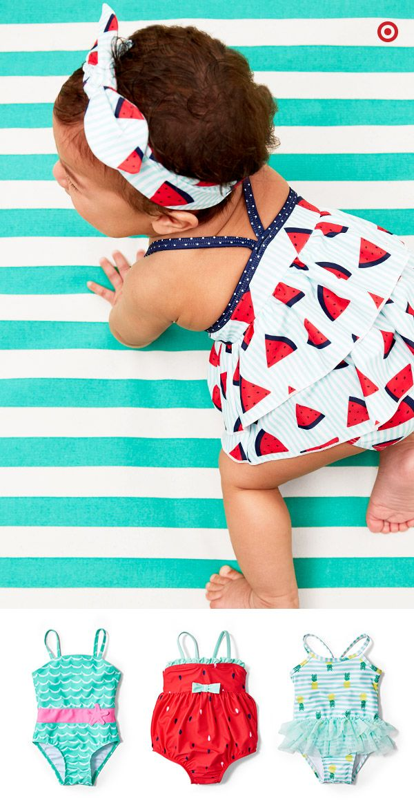 Flouncy ruffles, fun prints and patterns, and bold colors create perfectly adorable looks for your little beach baby. Available in one- and two-piece styles, your little one will be ready for sandcastles and swimming. Grab a towel, hat, sunglasses, sunscreen and toys. Lots of toys.
