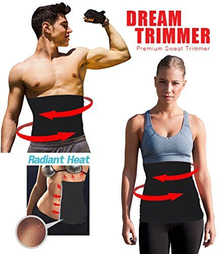 "Waist Trimmer (Dream Trimmer) Exercise Belt, Sweat Sauna Abdominal Binder, Belly Fat Burner with Silver Reflective Anti-bacterial Coating, Women's Medium: 28""-29"""