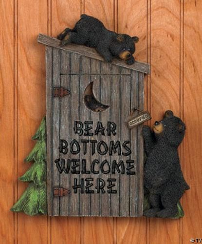"""""""Outhouse bathroom decor"""". Found this in the Home Decor section on Pinterest.  Depending on your sexuality this sign means two completely different things."""