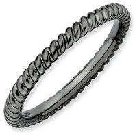 Trust Me Silver Stackable Black Twisted Ring. Sizes 5-10 Jewelry Pot. $22.99. All Genuine Diamonds, Gemstones, Materials, and Precious Metals. 30 Day Money Back Guarantee. Your item will be shipped the same or next weekday!. Fabulous Promotions and Discounts!. 100% Satisfaction Guarantee. Questions? Call 866-923-4446