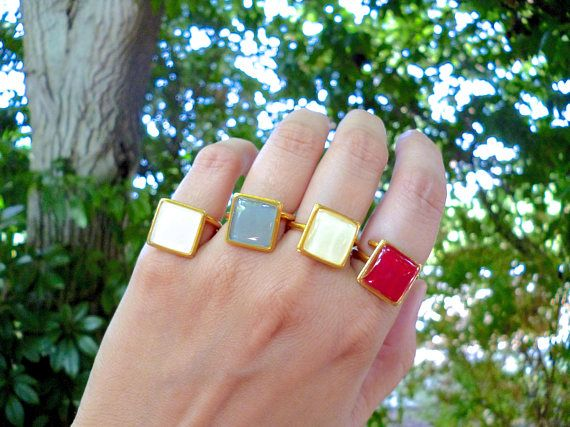 Hey, I found this really awesome Etsy listing at https://www.etsy.com/listing/268100113/red-square-ring-gray-ring-white-ring