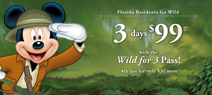 Walt Disney World's Florida Resident Wild for 3 Pass is back, only $99, plus save on Water Parks after 2 p.m!