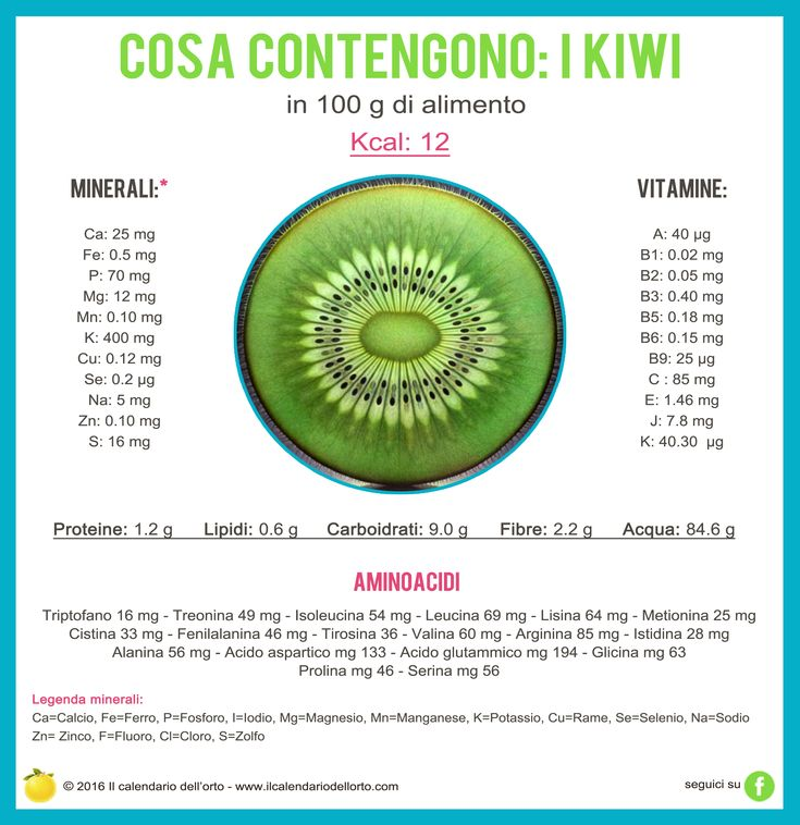 Cosa contengono i kiwi