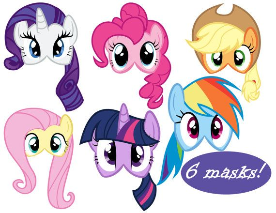 $8 This *INSTANT DOWNLOAD* contains 6 My Little Pony mask printables. Rainbow Dash Pinkie Pie Twilight Applejack Rarity Fluttershy  *How To* For best