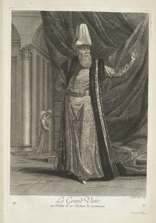 van mour-Le grand visir, en habit et en turban de ceremonie (1714)Jean-Baptiste van Mour'un (1671 – 1737) altında basılan Osmanlı gravürleri.