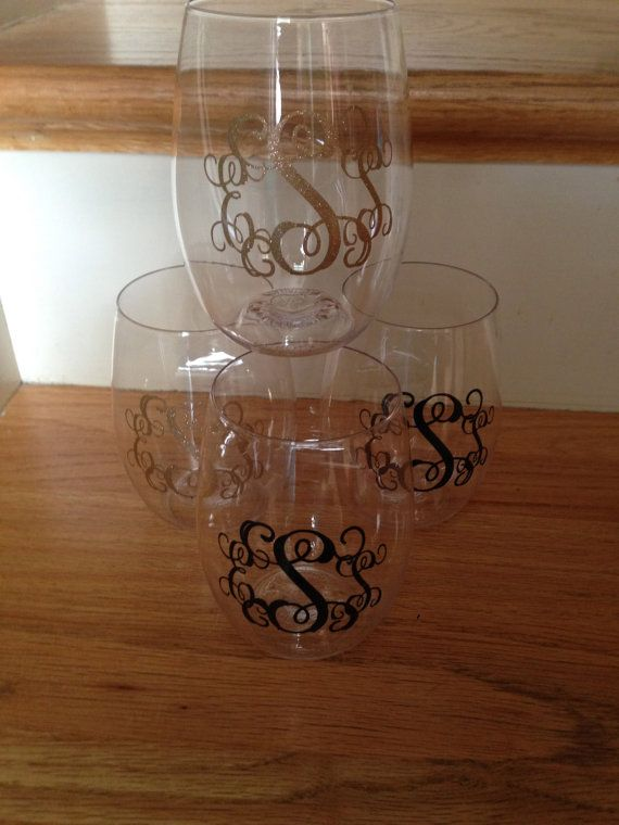Monogrammed Govino Wine Glasses set of 4 by SCSouthern on Etsy, $24.95