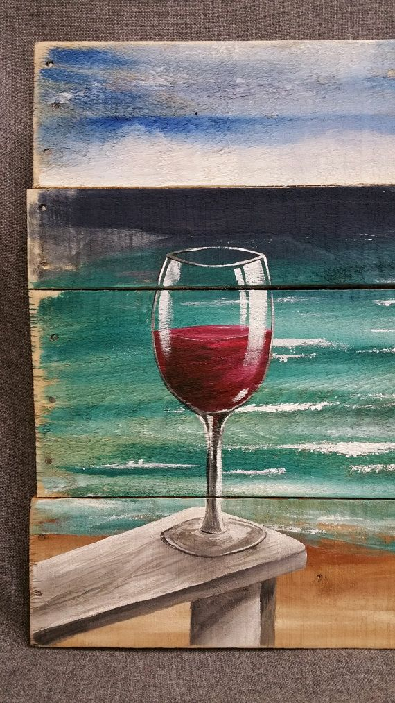 Red Wine on the beach painting, pallet beach wall art, Beach Chair, upcycled Reclaimd, Handmade Seascape horizon, ocean, Distressed, shabby  Dimensions are APPROX. 30 inches wide x 22 inches high A calming seascape with 3 birds flying in the distance with a sandy shore with a glass of your favorite wine sitting on the arm of your beach chair. It has been slightly aged by sanding the edges. This would be an interesting, personal touch to a cottage entrance, a front porch or above a mantel…