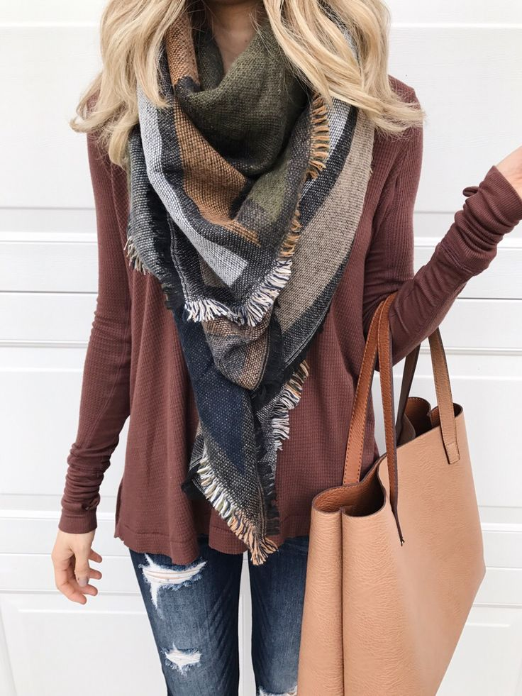 Earth tone scarf and a brown thermal swing top