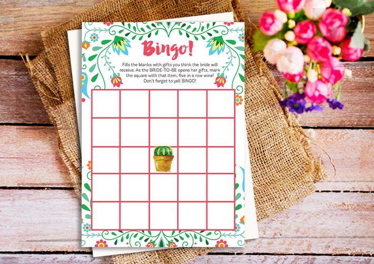 Fiesta Bingo Bridal Shower Games, Mexican Bingo Bridal Shower Games, Fiesta Mexican Bridal Shower theme, printable bridal shower games by HappyPartyStudio on Etsy https://www.etsy.com/listing/487575242/fiesta-bingo-bridal-shower-games-mexican