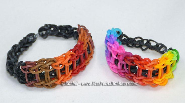 Bracelet arc-en-ciel modèles fille et garçon en élastiques rainbow loom