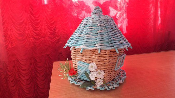 Плетение из газет шкатулка   чайный домик  How to make Paper Basket peri...