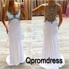 Long prom dress, ball gown, 2016 unique design v-neck white chiffon occasion dress for teens #coniefox #2016prom