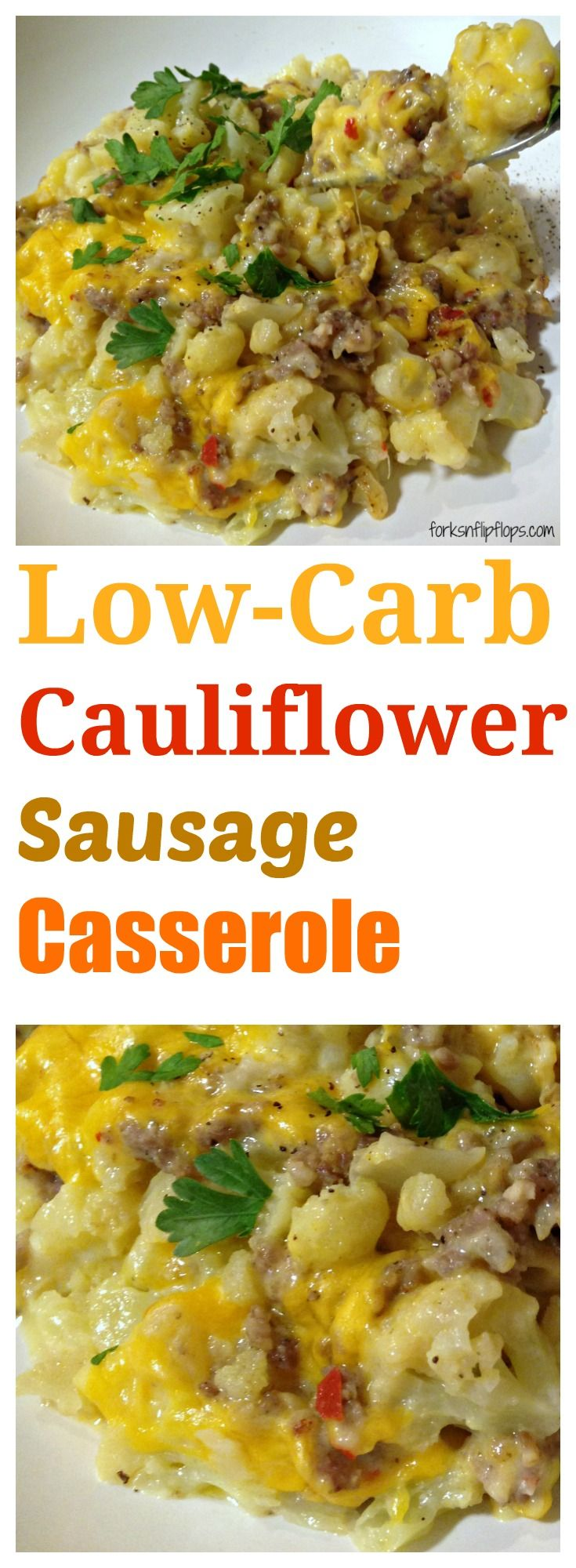 Low Carb Cauliflower Sausage Casserole  This is a cheesy low carb dinner recipe that will be a family favorite.
