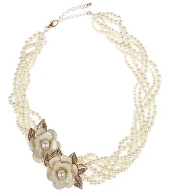 Gold Twisted Pearl Rose Necklace