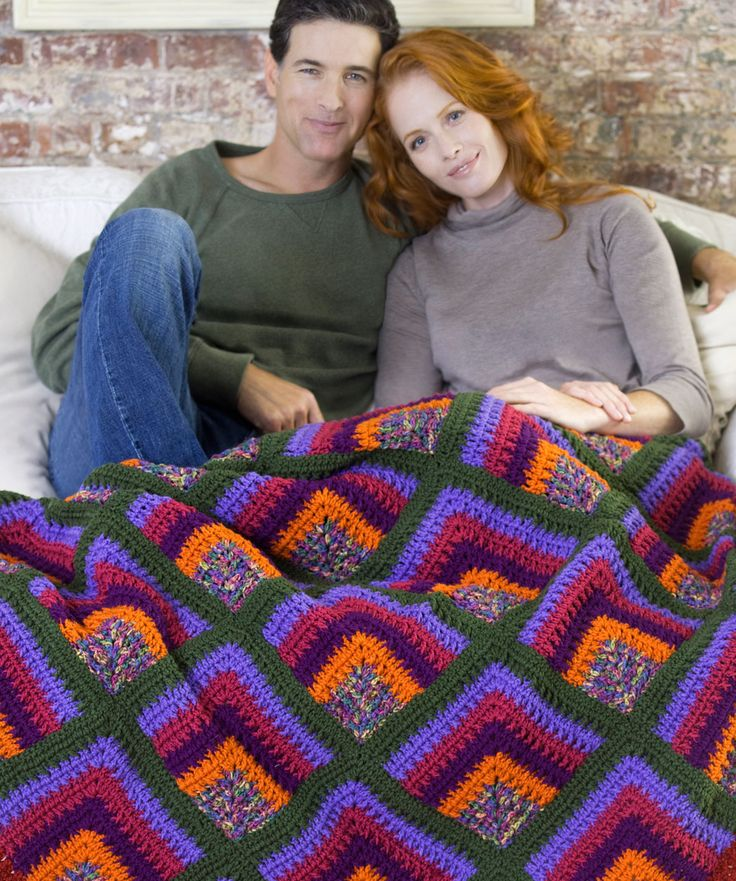 Four-Way Bargello Needlepoint Style Crochet Throw: